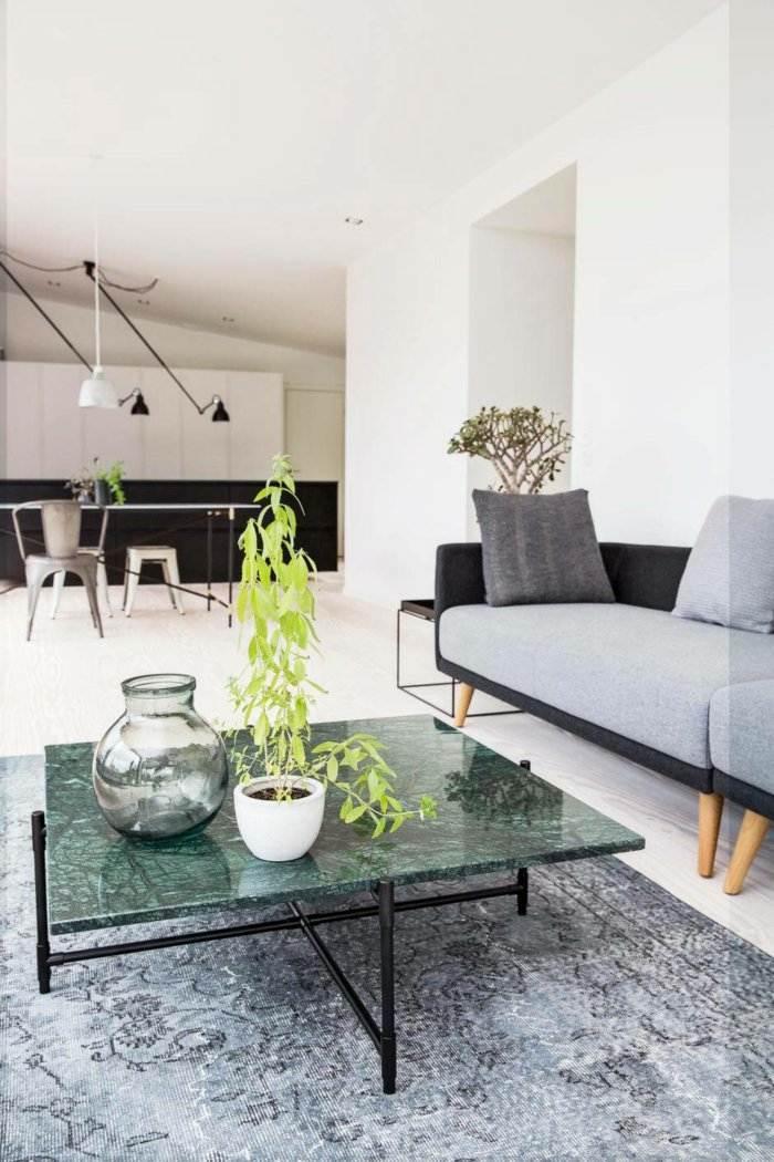 mobiliario diseño mesa cuero alfombras blanco