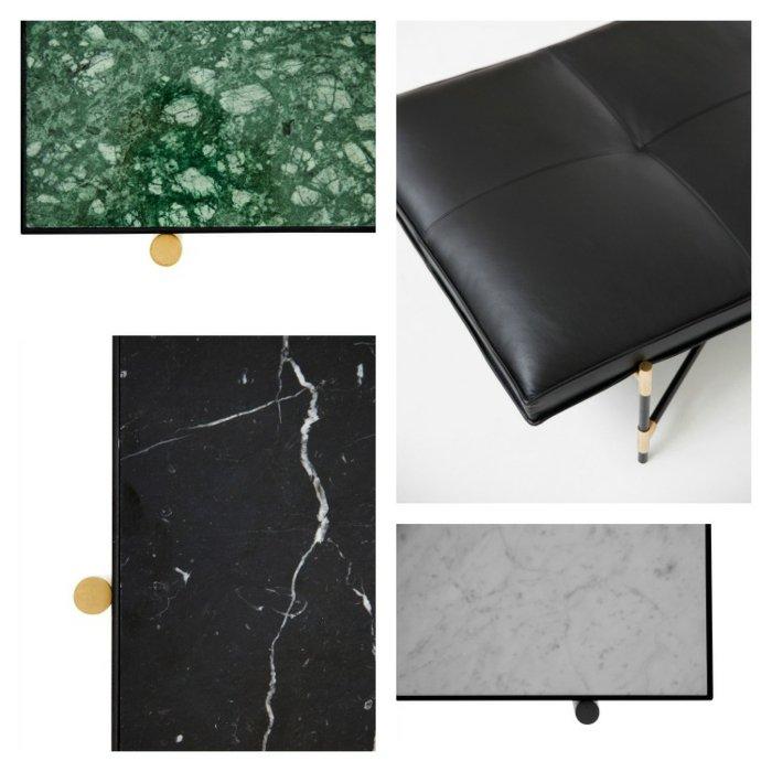 mobiliario diseño mesa cuero marmol