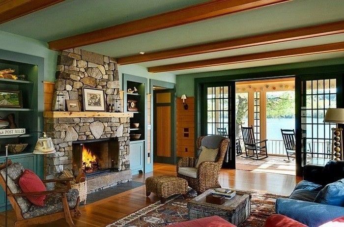 mobiliario estilo casa decorado troncos verde