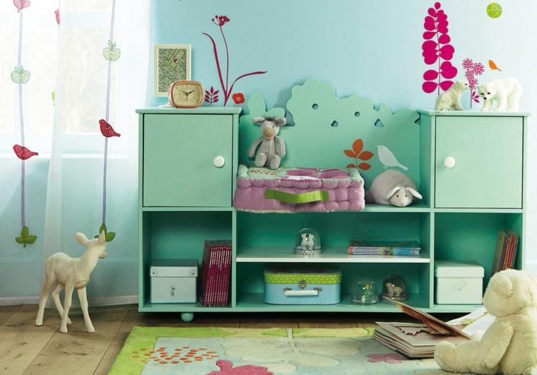 mueble dormitorio niños color aguamarina