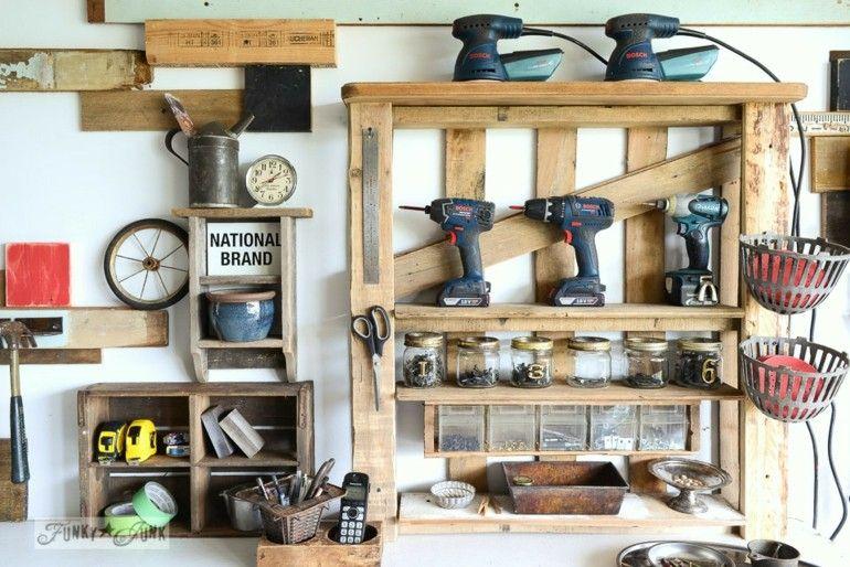 Ideas creativas con pallets cincuenta nuevos dise os - Mueble para herramientas ...