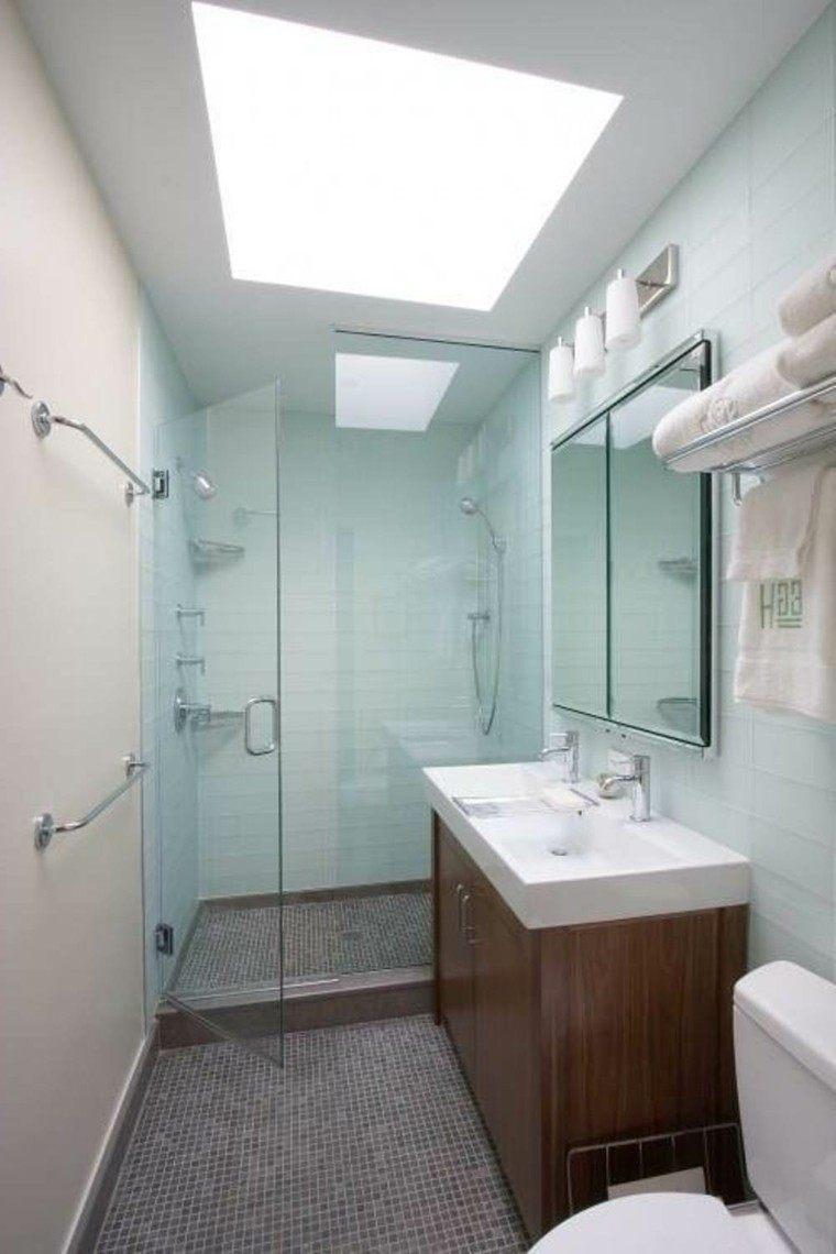 Ba os peque os con ducha 38 dise os de moda - Mueble lavabo madera ...