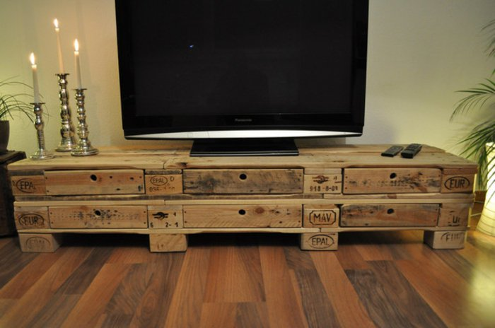 Palet de madera para decorar su hogar 100 ideas for Muebles tv originales