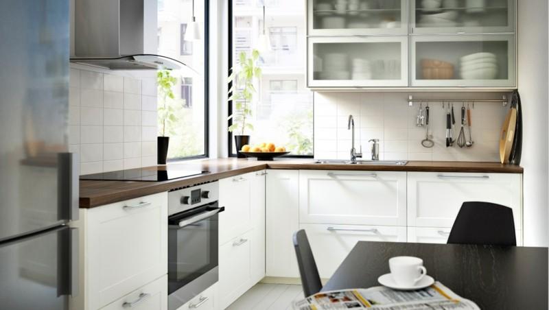 muebles cocina blancos encimera madera
