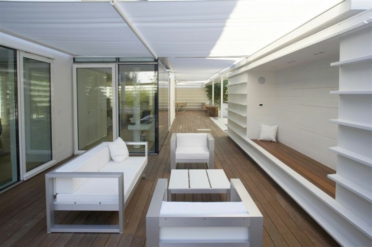muebles blancos pergola jardin ideas