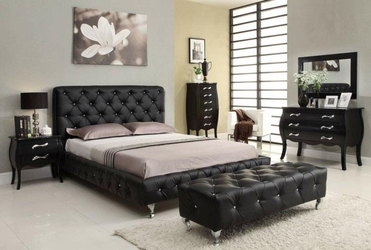 muebles estilo capitoné color negro