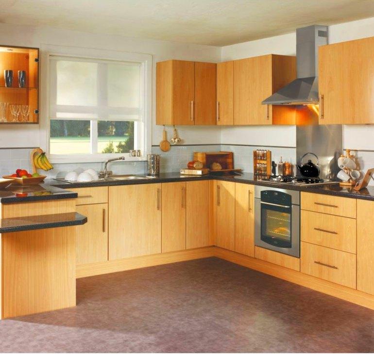 Cocinas peque as en forma de l cincuenta dise os for Disenos de muebles de cocina en madera
