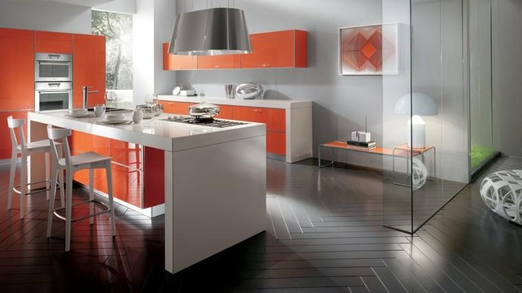 muebles de cocina modernos color naranja ideas