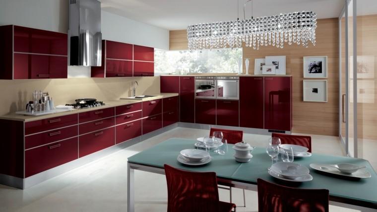 muebles de cocina modernos color rojo ideas