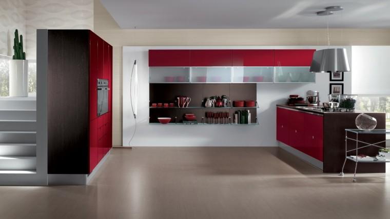 muebles de cocina modernos espacios amplios rojo ideas