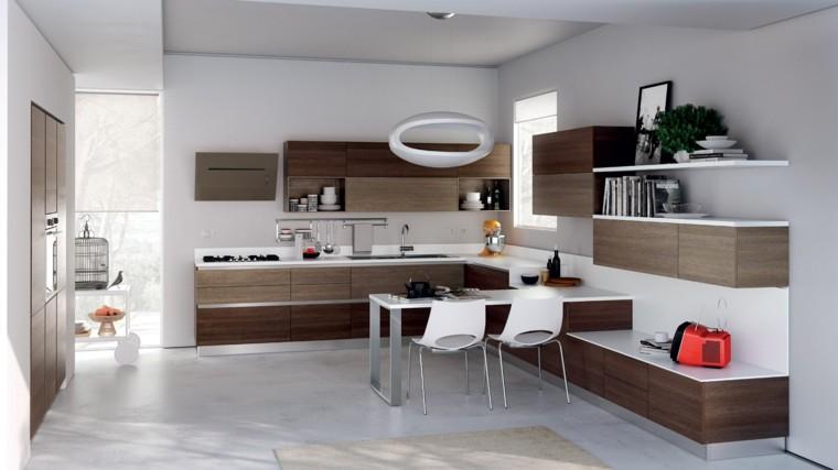muebles cocina modernos madera mesa comer ideas