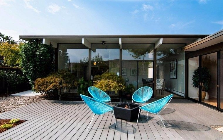 muebles exterior sillas azules ideas