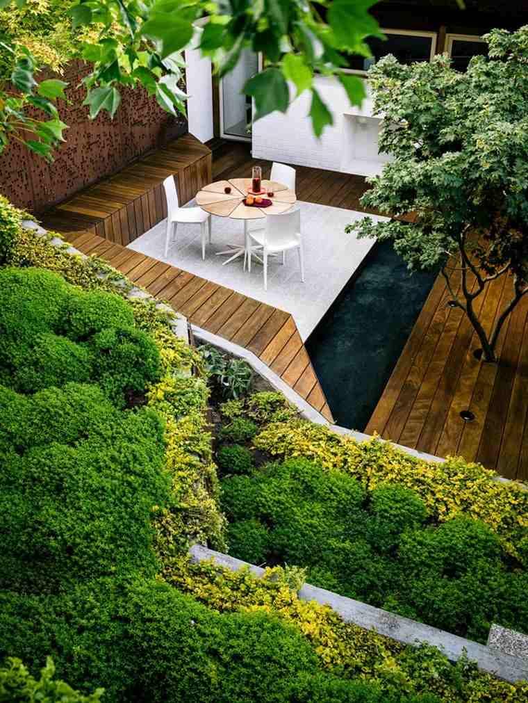 muebles de terraza y jardin banco madera mesa sillas