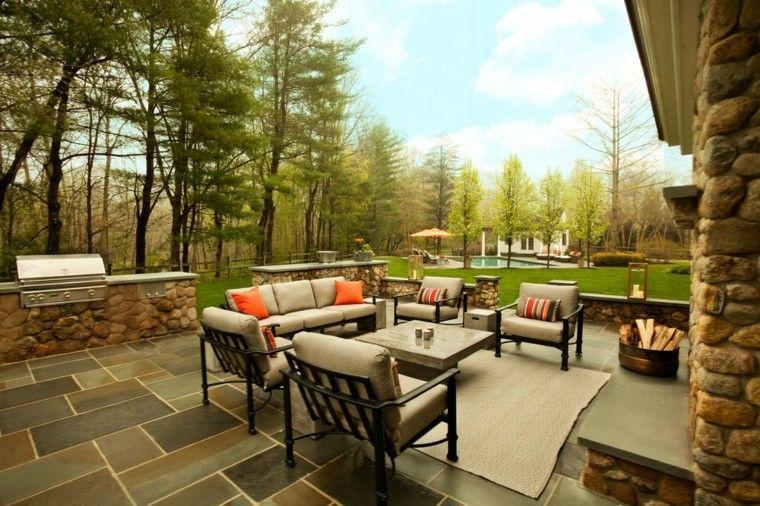 muebles de terraza y jardin chimenea alfombra ideas