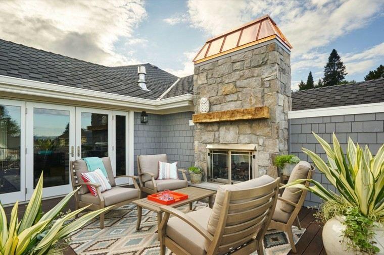 muebles de terraza y jardin color beige chimenea