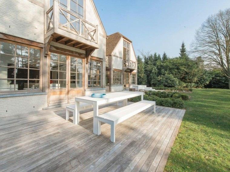 muebles jardin terraza mesa bancos blancos ideas