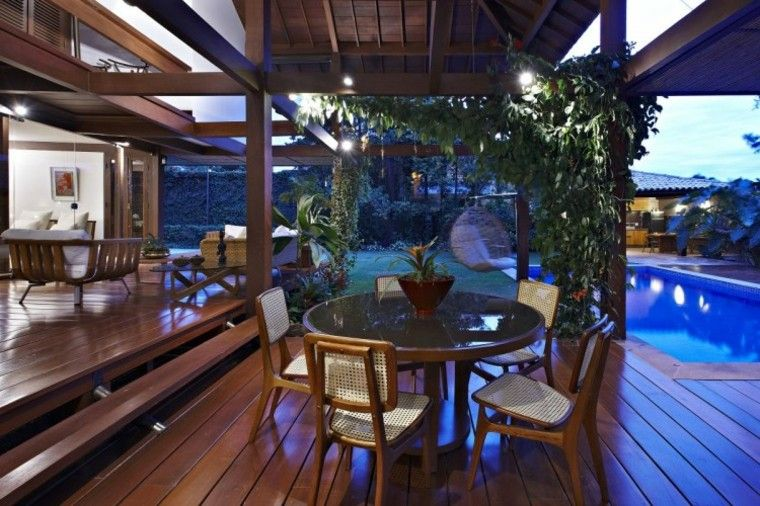 muebles jardin terraza mesa redonda cristal ideas