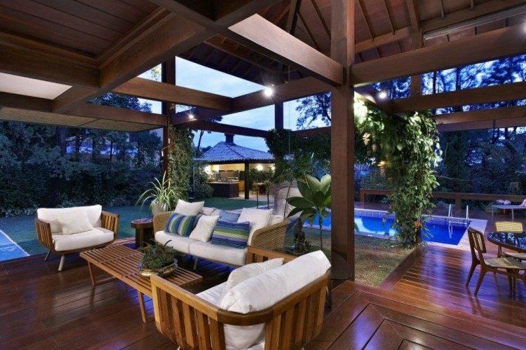 muebles jardin terraza pergola muebles teca ideas