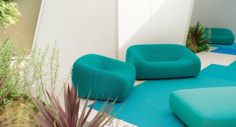 muebles de terraza y jardin sillones comodos azules ideas