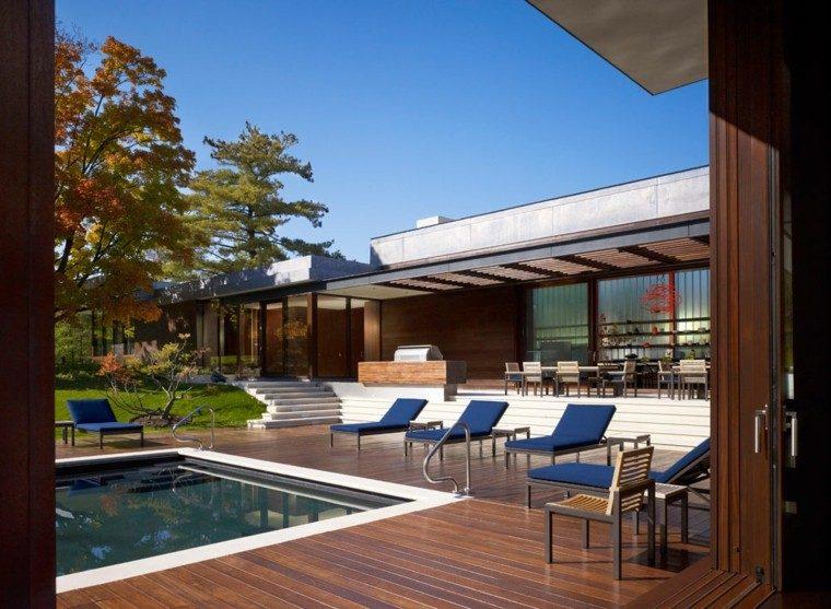 muebles jardin terraza tumbonas azules ideas