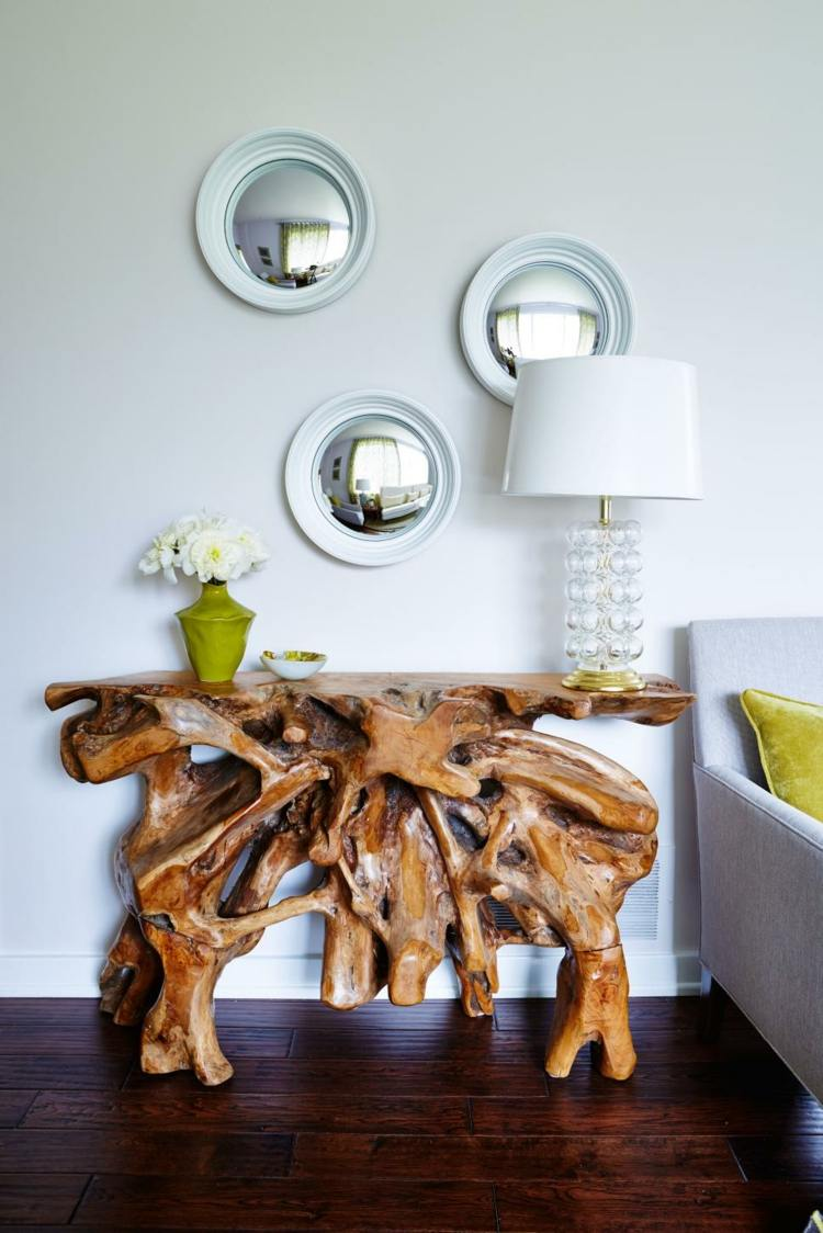 muebles diferente troncos flores blancas