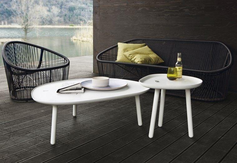 muebles diseno mesas blancas terraza ideas
