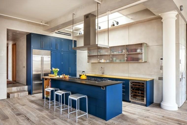 muebles diseno original cocina moderna grande azul ideas