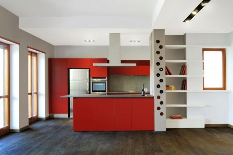 muebles diseno original cocina moderna rojo ideas