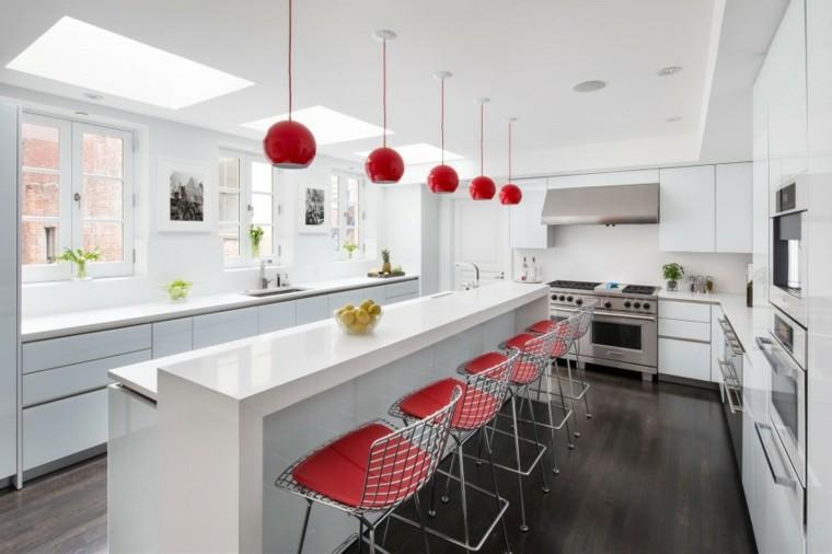 muebles diseno original cocina moderna sillas rojas ideas