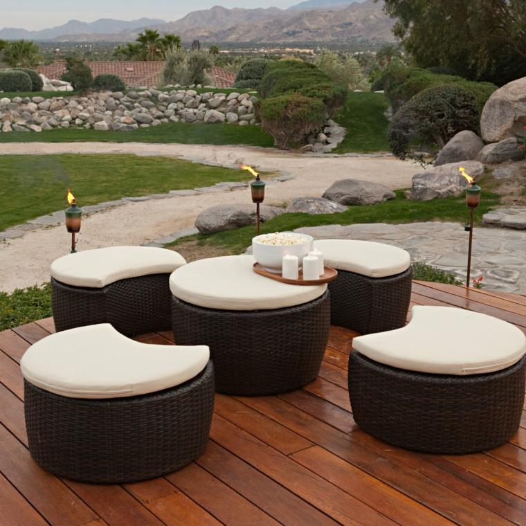 muebles jardin forma ratán redonda