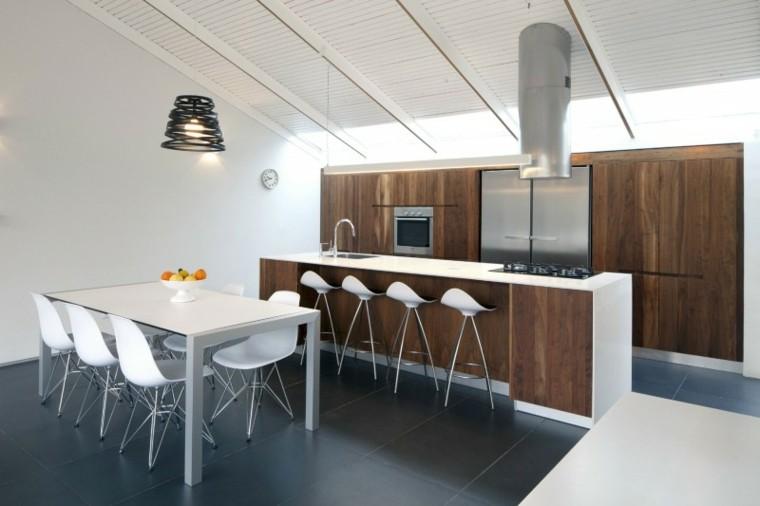 muebles madera paredes blancas cocina comedor ideas