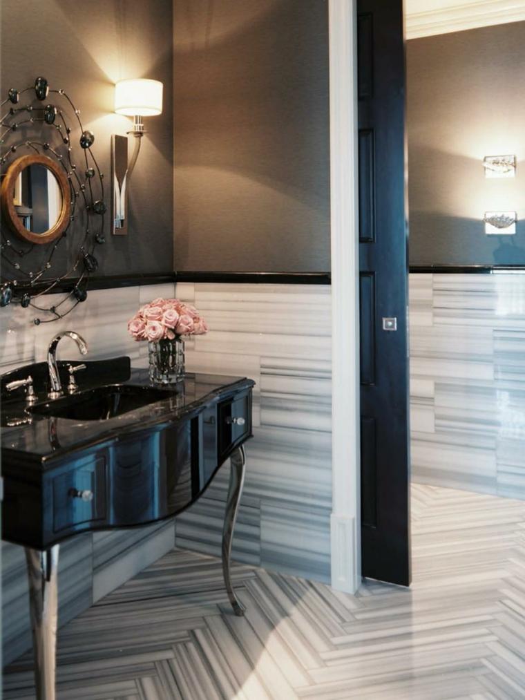 muebles madera sillones metales espejo