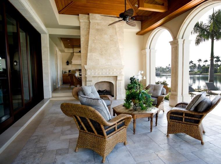 terraza cubierta muebles mimbrte