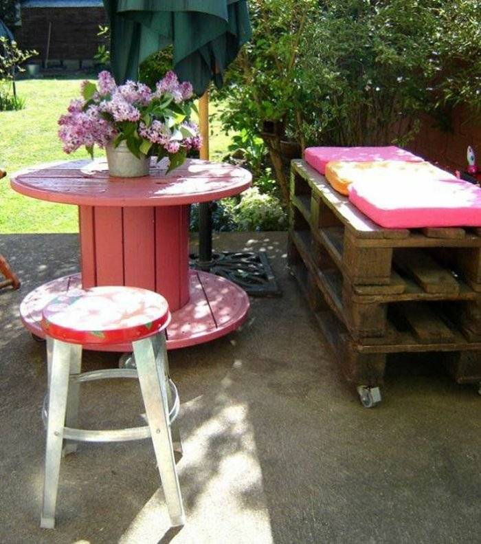 jardín terraza muebles pallet