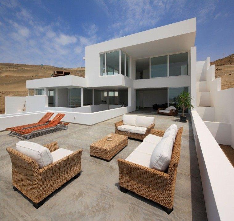 muebles rattan terraza casa moderna ideas
