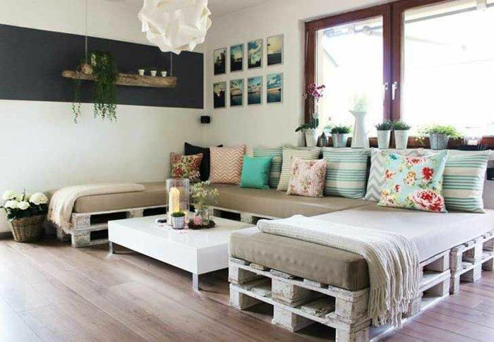 sofá salón pallet madera