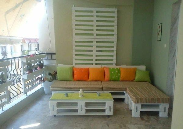 conjunto muebles palet blancos