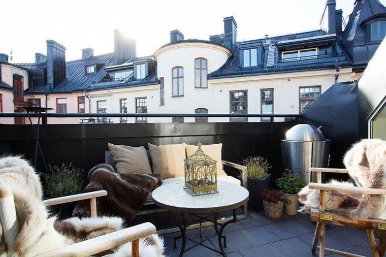 muebles terraza mantas piel deco