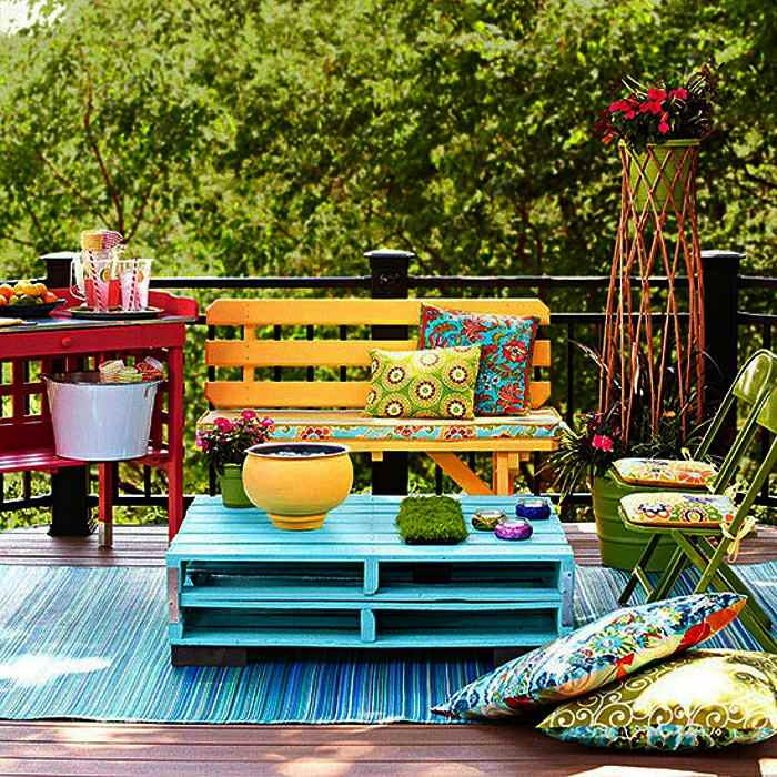 muebles terraza diseño pallet