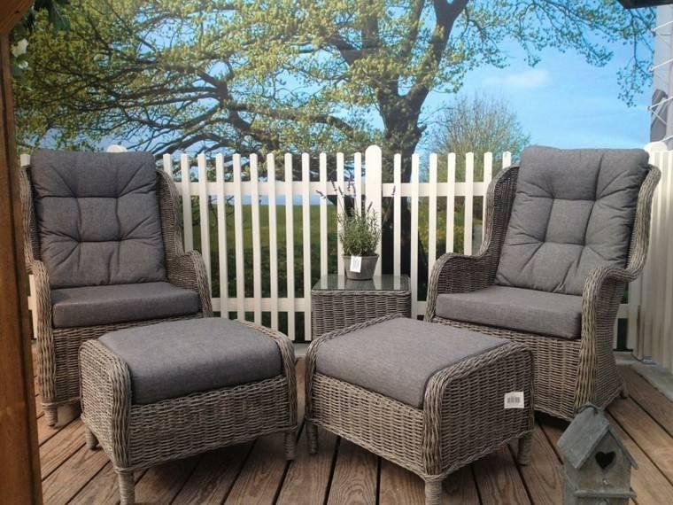 muebles terraza ratán color gris