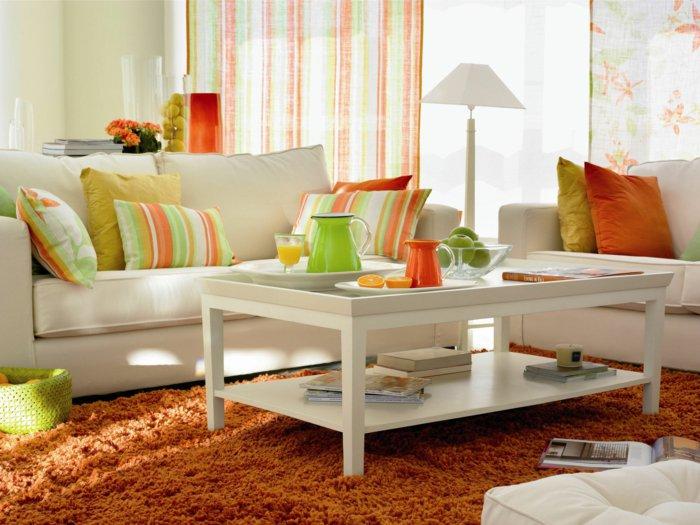 naranja detalles decorado blanco cortinas