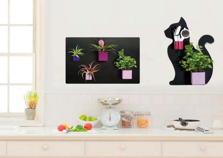 decorar con plantas paredes cocina
