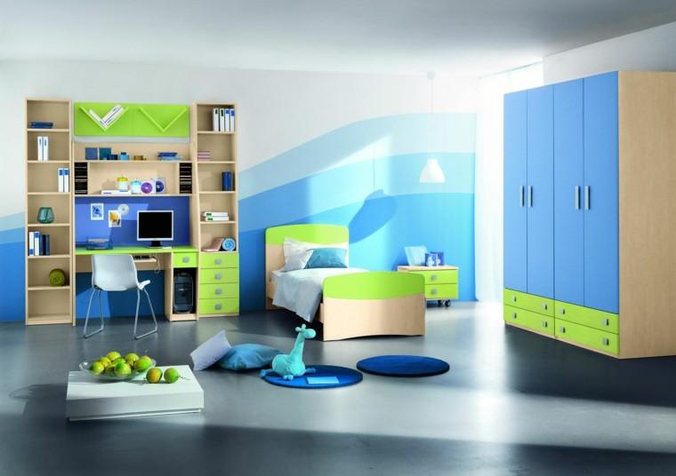 original diseño habitación azul verde