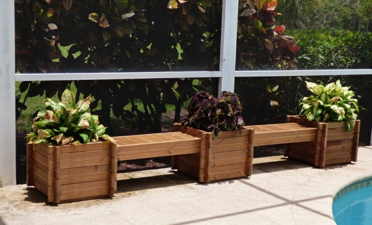 original diseo banco madera jardineras