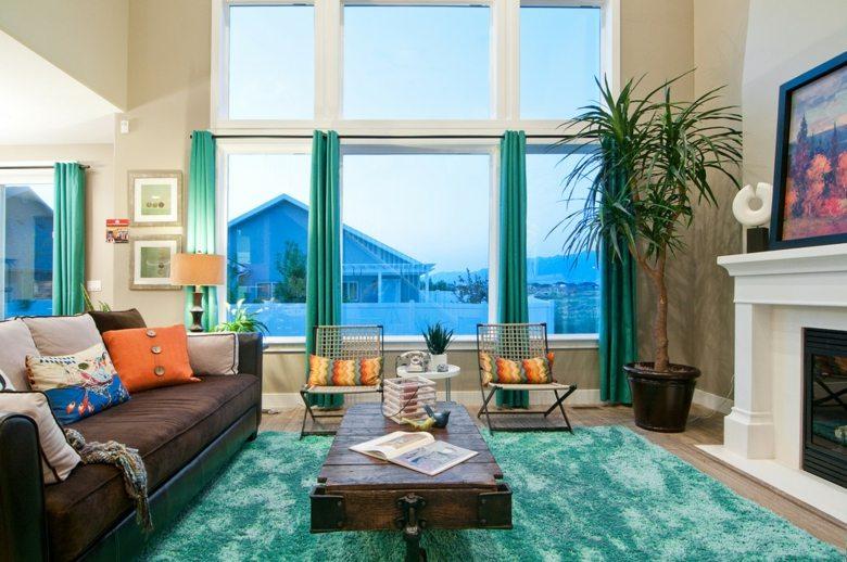 original diseño cortinas turquesa salon