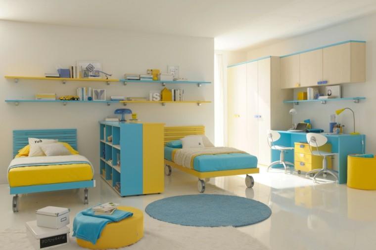 original diseño habitación infantil celeste amarillo
