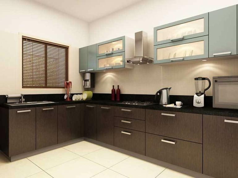 Cocinas peque as en forma de l cincuenta dise os for Disenos de cocinas pequenas modernas