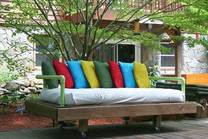 sofá ruedas cojines palet