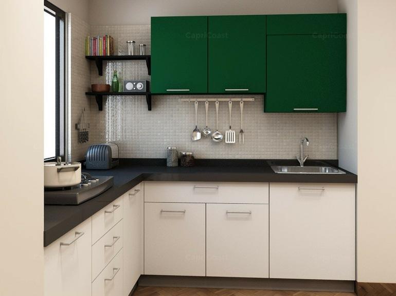 cocinas pequeñas en forma de L pequeña muebles verdes