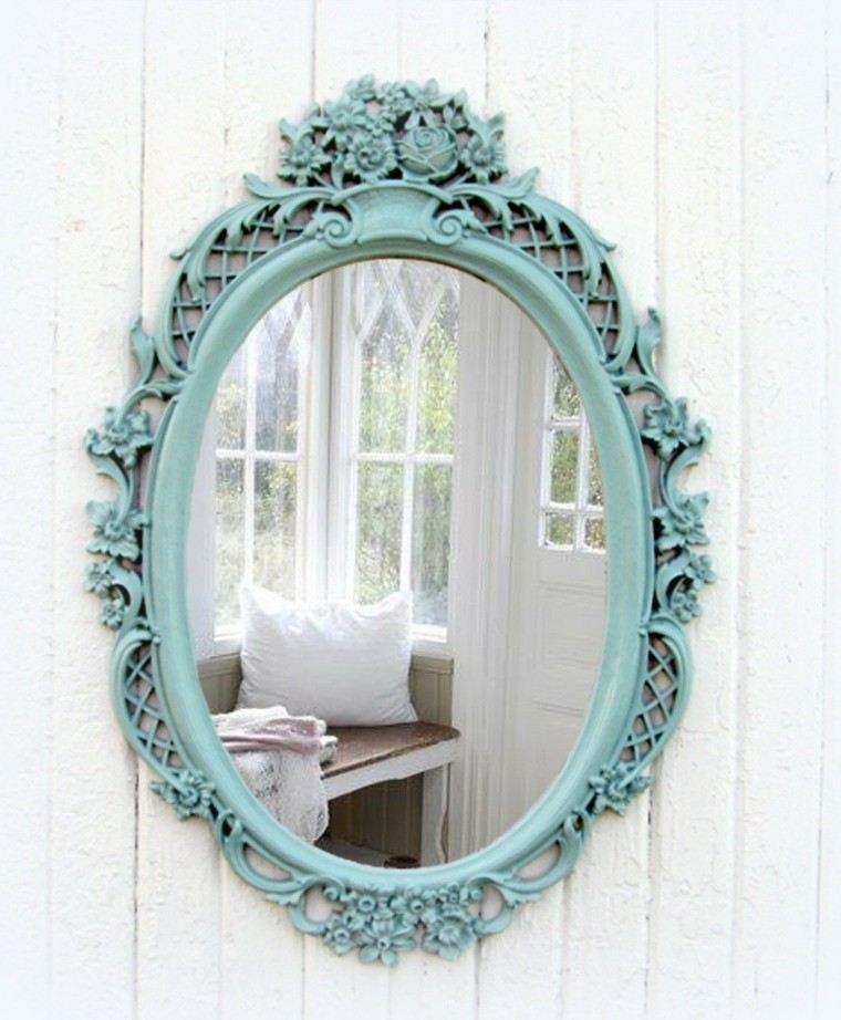 original espejo retro marco azul